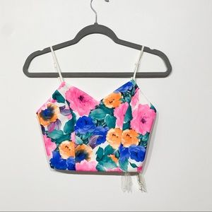 Jealous Tomato Floral Crop Top size small